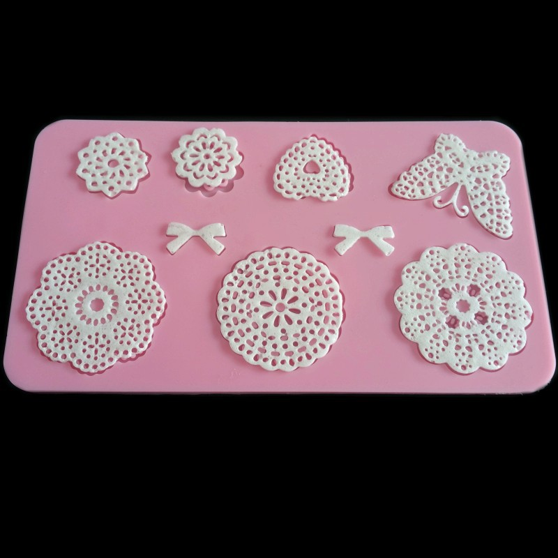 Lace die DIY soft silicone super light clay mold lace decoration mold epoxy resin clay cake shokugan lace pad color random