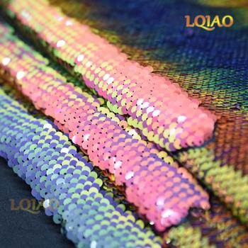 New Mermaid Fish Scale Reversible Sequin Fabric Embroidered Iridescent Rainbow/Gold Fabric for Wedding Dress DIY craft sewing image