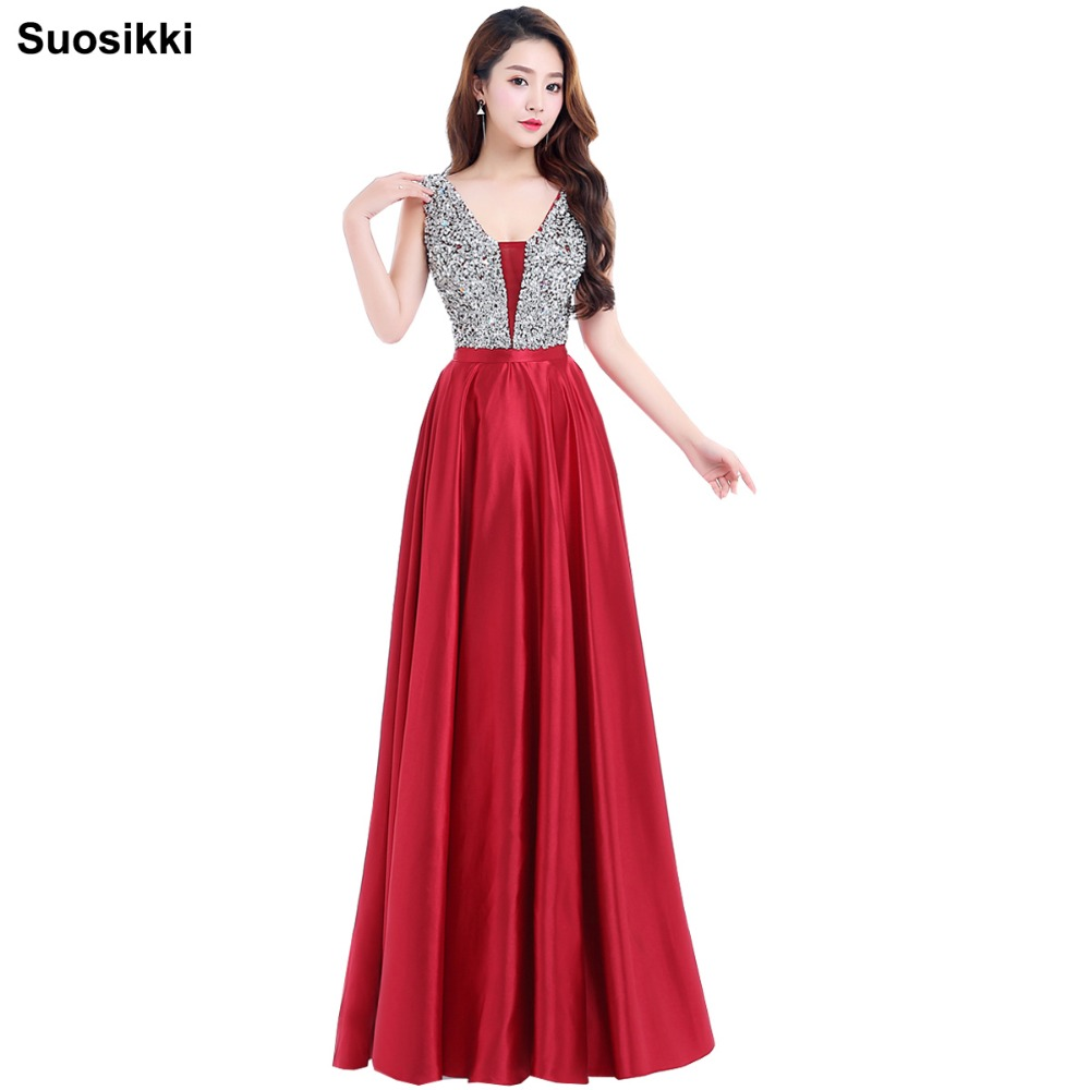 Suosikki Charming V-Neck Beads Bodice Open Back A Line Long   Evening     Dress   Party Elegant Vestido De Festa elegant Prom Gowns