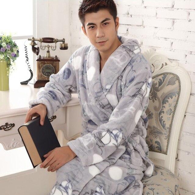 Осенне-зимние толстые Фланелевые халат мужской длинный коралловый флис халат человек большие размеры; брендовые пижамы толстый ночная рубашка теплые модные