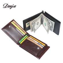 DANJUE кожаный короткий зажим для денег для мужчин Rfid Блокировка ID Кредитная карта сумка деловой кошелек для мужчин застежка сумки кошелек мужской