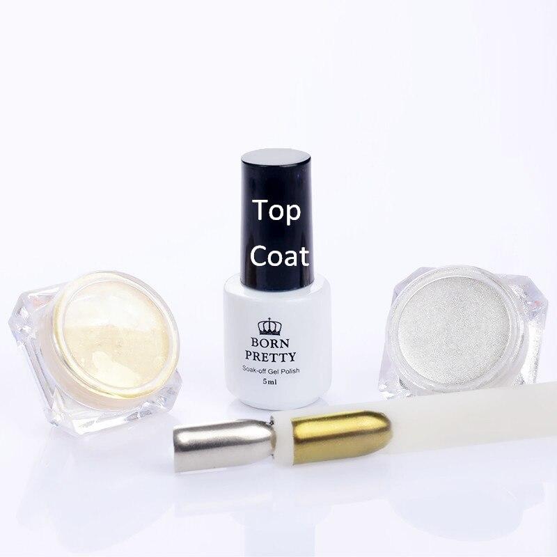 3 Pçs set Espelho Sliver Shinning Ouro Prego Glitter Pó   5 ml Top Coat  Nail Art Pigmento Cromo Glitters c2254d05ef13e