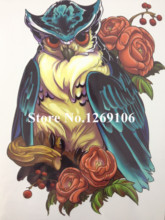 21 X 15 CM OWL And Flower Temporary Tattoo Stickers Temporary Body Art Waterproof#46