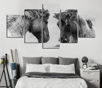 Black And White Film Fine Horse Animal Prints On Canvas Painting Effect Decorates Kitchen Household Artwork