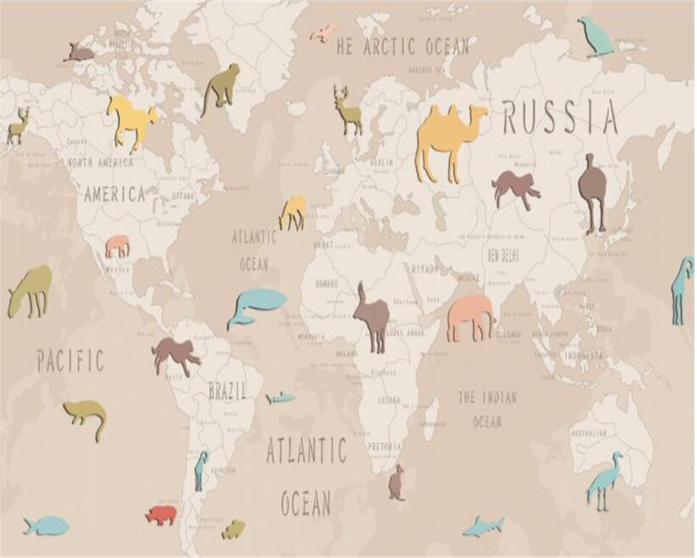 Hand drawn cartoon animal world map childrens room backdrop hand drawn cartoon animal world map childrens room backdrop wallpaper for walls 3 d papier peint 3d wallpaper mural beibehang in wallpapers from home gumiabroncs Gallery