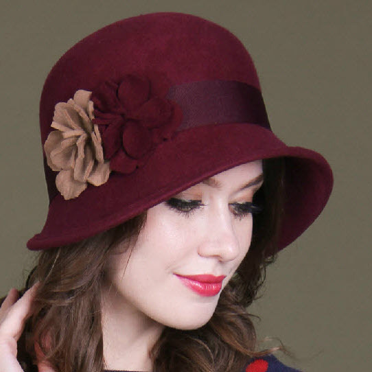 f4278913f1e335 High Quality Winter Vintage Western 1920s Style Wool Ladies Cloche Hats  Solid Wine red/Camel Bucket Hats with Camellia for Women