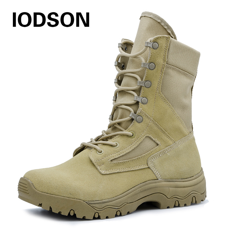 IDS658 Men's Desert Military Tactical Boots Special Force Army Shoes Lace-up Antum/Spring Combat Ankle Boots