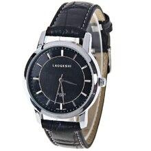 LaoGeShi Unisex Reloj Tiras Marcas de la Hora Dial Redondo Banda de Cuero (Negro)