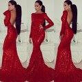 Мода красных блесток вечерние платья 2016 спинки длинные рукава русалка sexy тонкий женщины театрализованное платье для формальных выпускного вечера patrty