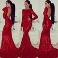 Moda red lantejoula evening vestidos 2016 backless mangas compridas sereia sexy slim mulheres vestido de concurso para patrty formais do baile de finalistas