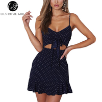 Lily Rosie Girl Sexy Sleeveless Crop Bow Dot Print Women Mini Dresses 2018 Summer Backless Beach