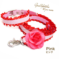 Free Shipping Beauty Princess Camellia Lace Dog Collar Leash Pet Outdoor Products Pink