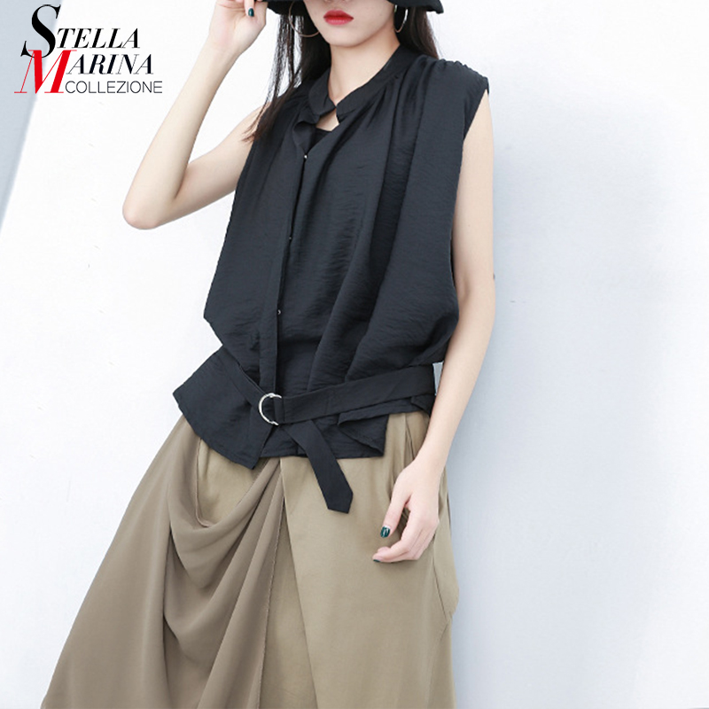 2019 Korean Style Women Solid Black Sleeveless Summer Top With Sashes Unique T-shirt Female Casual Streetwear Tshirts Femme J512