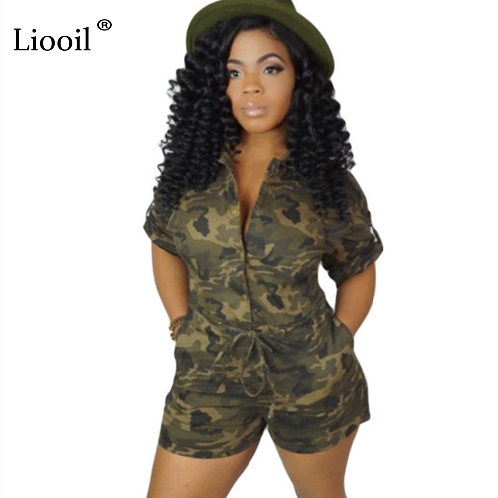 Liooil Plus Size Rompers Sexy Clubwear Womens Camouflage New Jumpsuits 2019 For Women One Piece Playsuits And Jumpsuits Shorts(China)