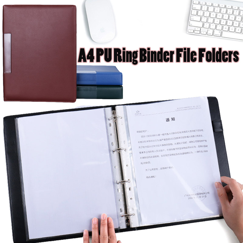 A4 pu leather ring binder document file folders transparent file bag portfolio folders organizer bags school display file office 8 packets file folder a4 pu ring binder display notebook folders with calculator document bag organizer business office supplies