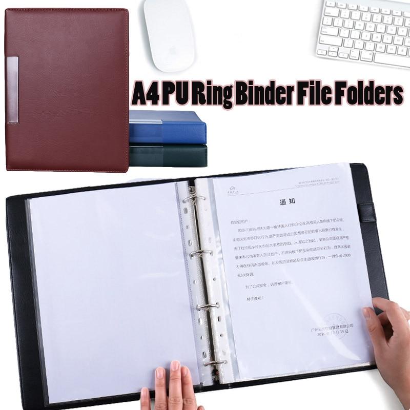 A4 Pu Leather Ring Binder Document File Folders