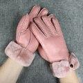 Зимние перчатки женщин варежки из меха натуральной кожи перчатки моды элегантные дамы на открытом воздухе теплые кашемир наручные перчатки 5 цвета