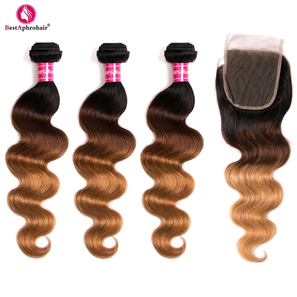 Aphro T1b/4/27 色の 3 トーン非レミーの髪バンドルと閉鎖 4 ピース/ロットブラジル実体波人毛閉鎖バンドル  グループ上の ヘアエクステンション & ウィッグ からの バンドル付きクロージャー の中 2