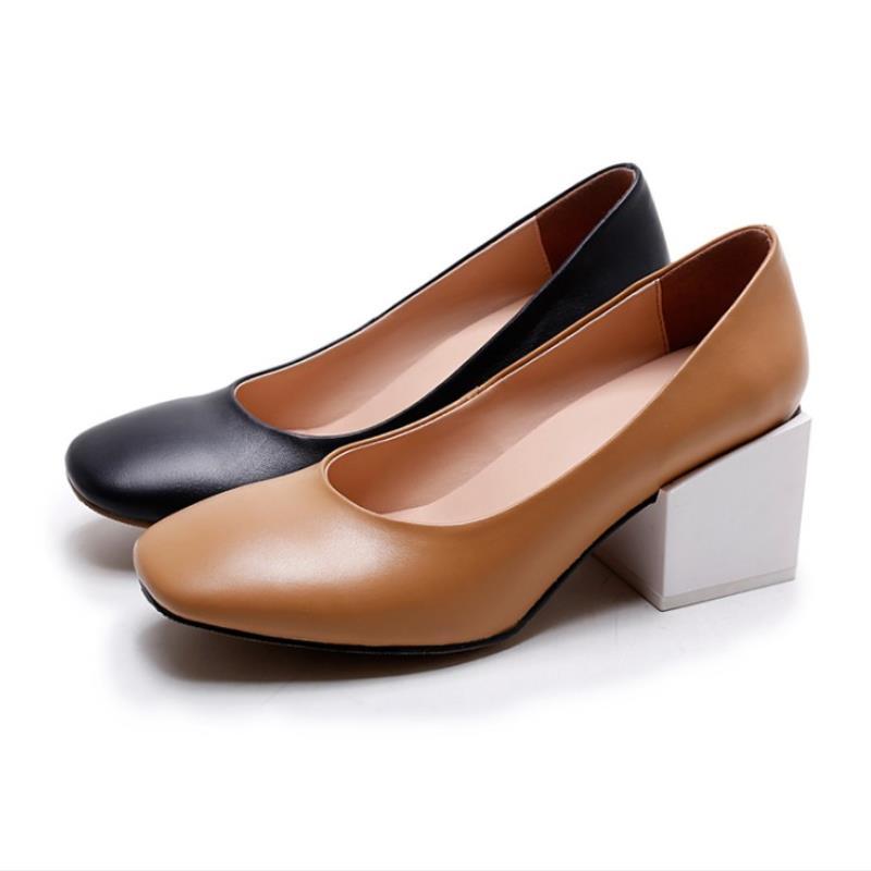 Véritable Pompes Cuir En 34 Chaussures De Carrés Se sur Taille Slip Toe Mode Femmes tuo Nouveau 39 Carré Noir Dames Talons Hauts Classiques qtz5wE