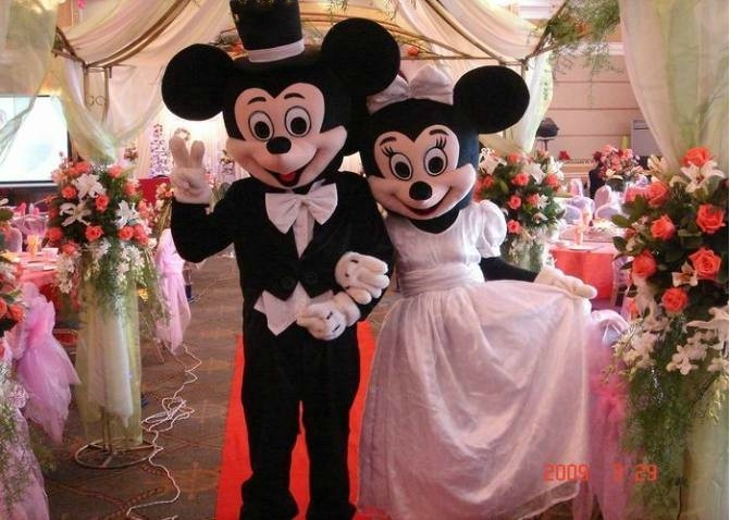 Mouse mascot And Minnie Mascot Costumes Wedding version of Mouse Minnie mascot Free Shipping