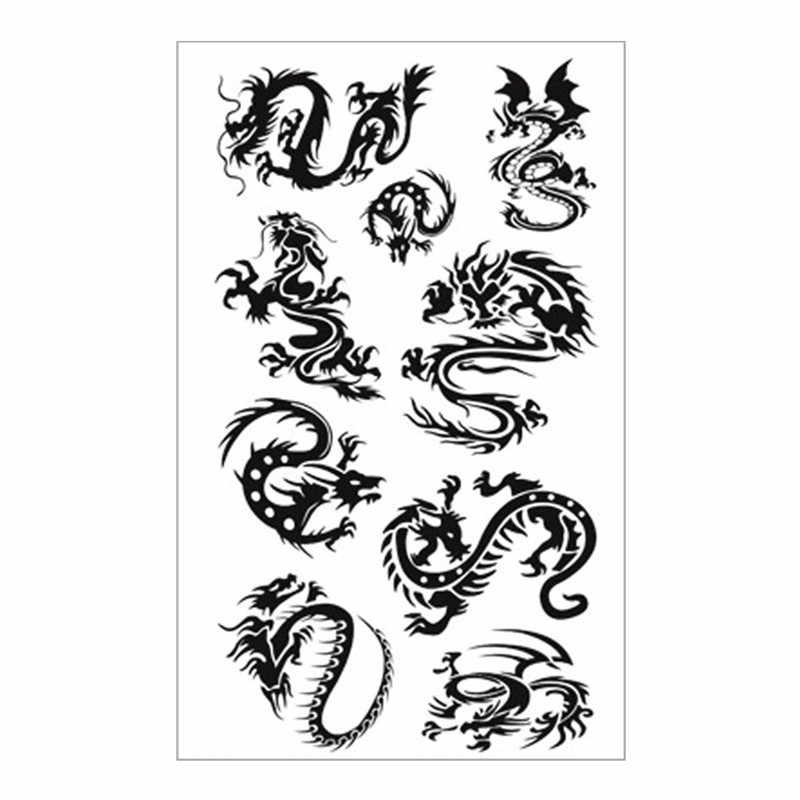 SHNAPIGN שחור הדרקון טוטם זמני קעקוע גוף אמנות זרוע פלאש קעקוע מדבקות 17*10cm עמיד למים מזויפים חינה ללא כאבים מדבקה