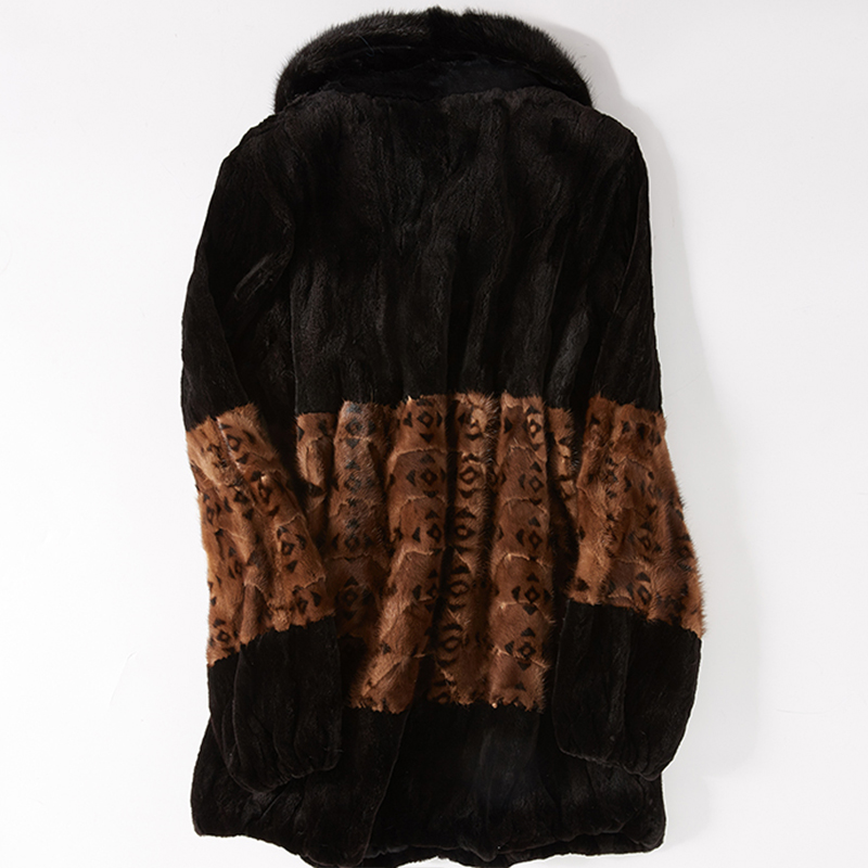 Taille Femelle Manteau Partie Manteaux Large Naturelle À Black Hiver Vison De Femmes 2019 black Ceinture Mode Lvchi Khika Brown Léopard Personnalisable Fourrure tpOxggE