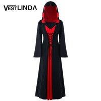 VESTLINDA שמלת ברדס בתוספת 5XL גודל התחרה עד מקסי שמלה נשים סתיו גלימת שרוול ארוכה גדולות מוצקות אופנה חדשה חידוש נקבה