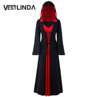 VESTLINDA Hooded Dress Plus Size 5XL Lace Up Maxi Dress Women Autumn New Fashion Novelty Oversized