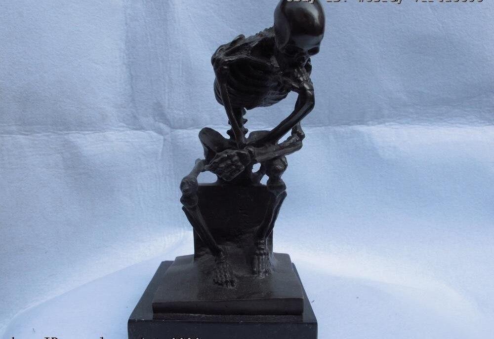 10 Western Copper Bronze Marble Sitting ponder human skeleton Bone Skull Statue