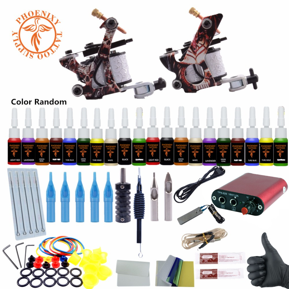 Complete Tattoo Kits 8 Wrap Coils Guns Tattoo Machine Set Black Pigment Sets Power Supply Beginner Tattoo Supplies 20 Colors Ink professional tattoo kit 5 guns complete machine equipment sets teaching cd ink for beginners body art beauty tools tk 2509 m