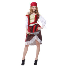 Adult Elegant Caribbean Pirate Buccaneer Cosplay Costume for Women Maiden Fantasia Halloween Carnival Masquerade Party Dress