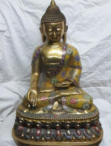"xd 001871 26""Tibet Bronze gild Cloisonne sit in meditation Ru Lai Buddha Shakyamuni statue"