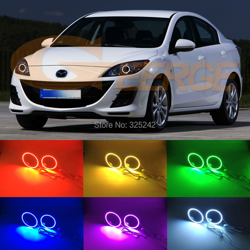 For Mazda 3 mazda3 BL 2009 2010 2011 2012 2013 Sedan and hatchback Excellent Multi-Color Ultra bright RGB LED Angel Eyes kit for mazda 3 mazda3 bl sp25 mps 2009 2010 2011 2012 2013 excellent ultra bright illumination ccfl angel eyes kit