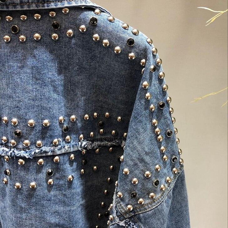 Perles Clouté Travail Outwear Femelle Manuel Décontracté Nouveau Femmes Hauts Veste Étudiants Printemps Rivet Denim Jeans Lâche Bleu nYfAq