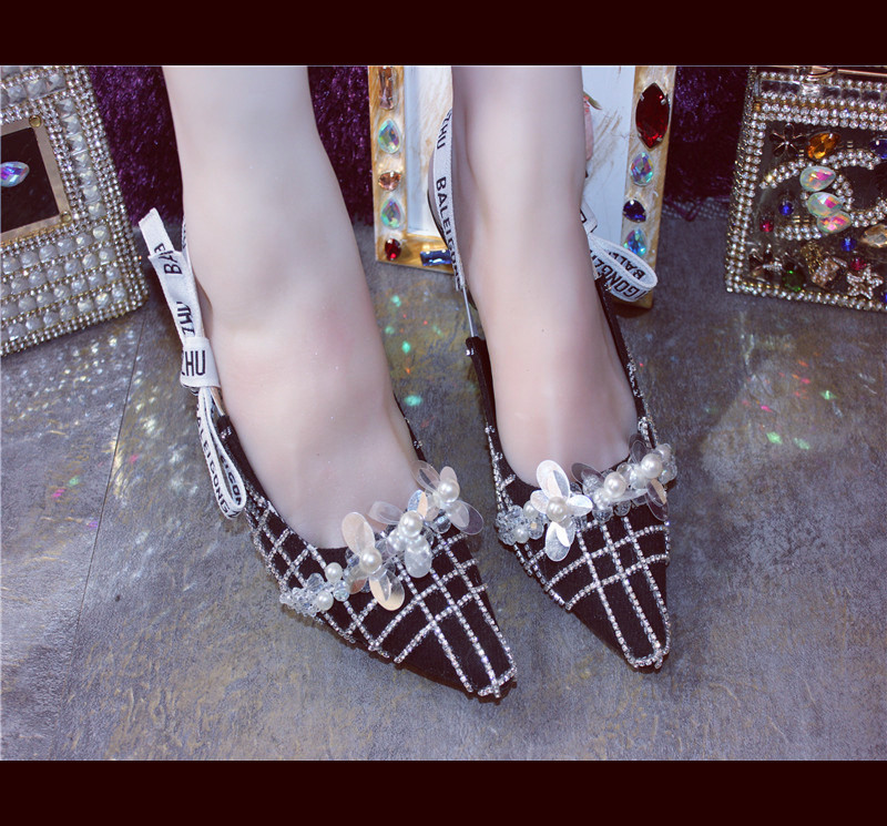 Italian Pointed Toe Rhinestone Shoes Sexy Flowers Studded Party Wedding Lattice Women Pumps 5 cm Med Heel Character