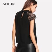 SHEIN Floral Lace Cap Sleeve Blouse Black Peter pan Collar Button Women Elegant Top Summer Short Sleeve Plain Blouse