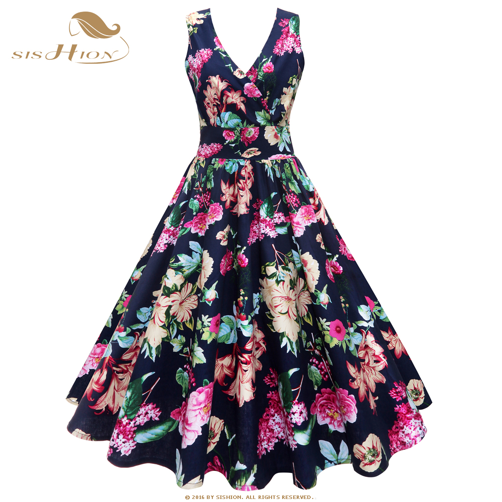 SISHION S-<font><b>7XL</b></font> <font><b>Plus</b></font> <font><b>Size</b></font> <font><b>Dress</b></font> Women Summer Sleeveless V Neck Sexy Floral Print Large Swing 50s 60s Cotton Vintage <font><b>Dress</b></font> VD0929 image