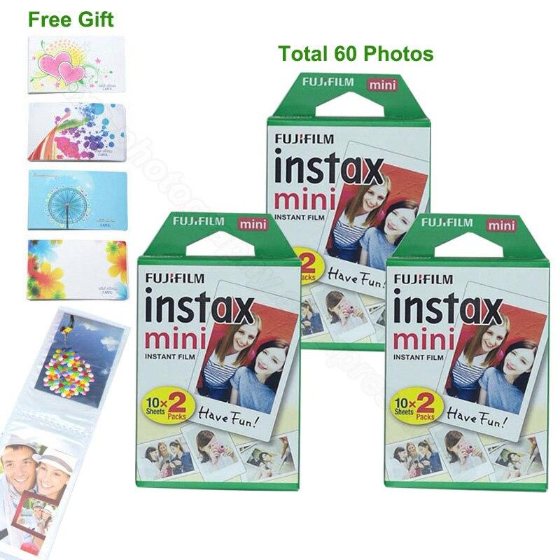 60 feuilles Fujifilm Instax Mini 9 film avec Photo Album pour Instax Mini 7 s 8 9 70 25 50 s 90 Appareil Photo Instantané Partager SP1 SP-2 Imprimante
