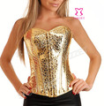 Free Shipping Party Wear Metal Buckle Burlesque Shiny Sequin Golden PVC Corset Sexy Corselet  Women Bustier Tops Body Shapewear