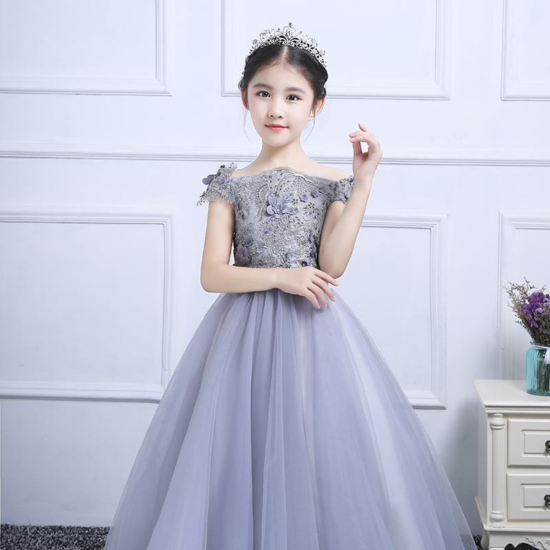 Princess Girls Wedding Clothes Kids Ball Gown Dress Luxury Banquet Vestidos Shoulderless Elegant Childrens Floral Dresses S27Princess Girls Wedding Clothes Kids Ball Gown Dress Luxury Banquet Vestidos Shoulderless Elegant Childrens Floral Dresses S27