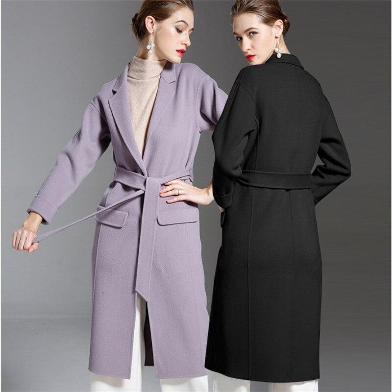 Manteaux Double V1031 Dame Femmes Neige Chaud D'hiver Manteau Cachemire Side Tranchée Purple Épais De Laine Longue black AISSqxgw06