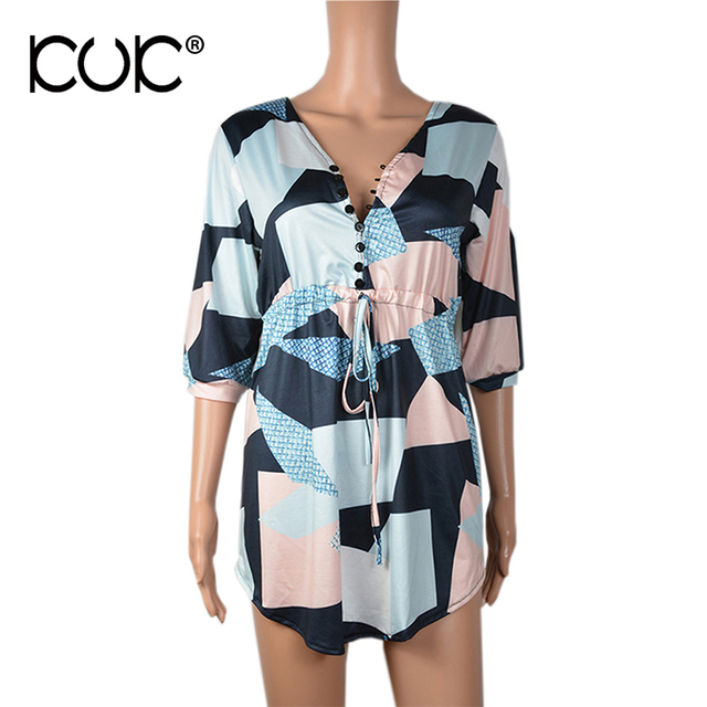 Boho Dress Women Chic Hippie Clothing Geometry Summer Dress 2017 Button Casual Beach Tunic Vestidos A801