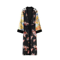 Floral Print Long Casual Patchwork Womens Kimono Cardigan 2017 Autumn Long Sleeve Loose Europe Style Boho