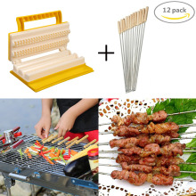 hot deal buy bbq tools set fast meat skewers maker + 12 pcs stainless steel skewers kit meat skewer machine outdoor barbecue accessories
