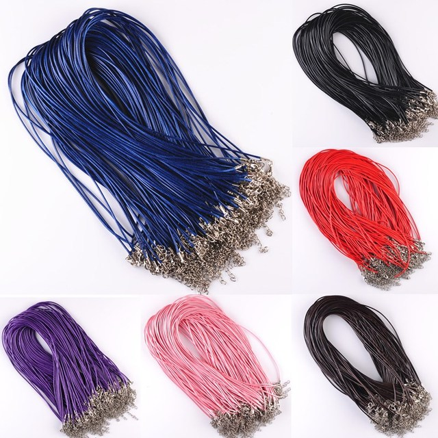 LNRRABC 10pcs 40cm Length DIY Adjustable Real Leather String Cords For Necklace Bracelet  Charms Jewelry Making Findings