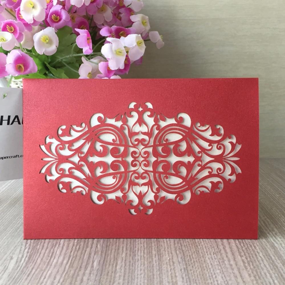 100pcs/set 21 Color Pocket Style Laser Cut Wedding Invitation with ...