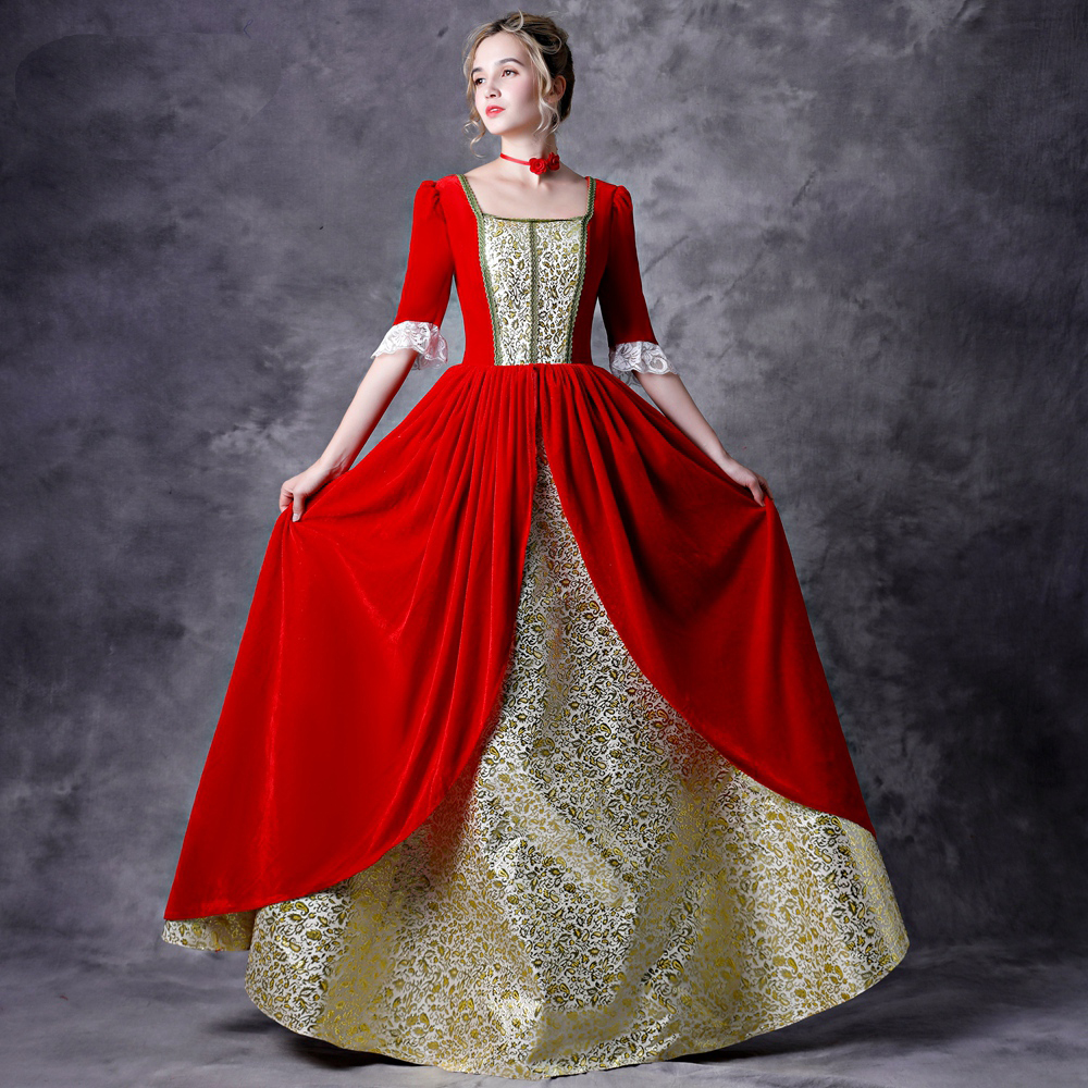 1780s Rococo Ball Gown Red&Gold Lace Plus Size Gown Civil War Costume Renaissance Dress Stage Dress