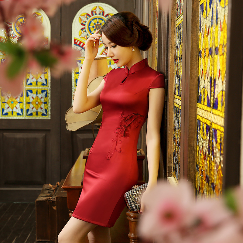 Summer New Arrival Chinese Traditional Style Dress Women's Mini Cheongsam Noble Slim Qipao Clothing Size S M L XL XXL F052702 s xl 2016 new summer