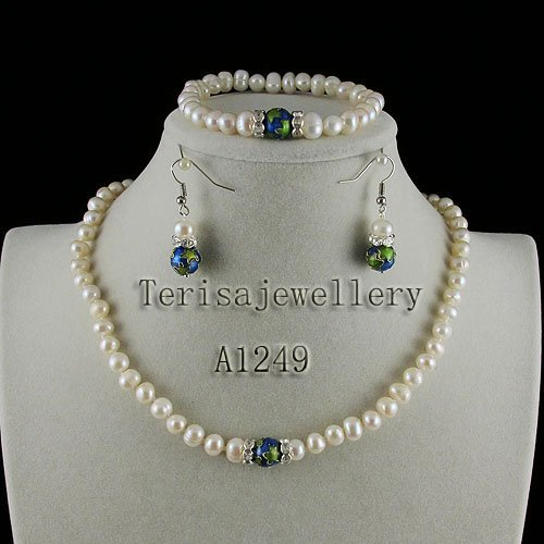New White pearl  AA 6-7MM Natural Fresh Water Pearls made with Star Cloisonne Necklace bracelet earring jewelry set A1249New White pearl  AA 6-7MM Natural Fresh Water Pearls made with Star Cloisonne Necklace bracelet earring jewelry set A1249
