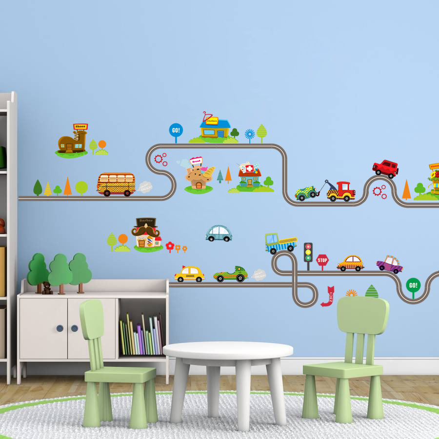 Cartoon car bus highway track wall stickers for kids for Stickers de pared